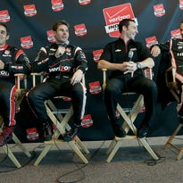 Team Penske's Juan Pablo Montoya,left, Will Power, Simon Pagenaud and Helio Castroneves,right, share a laugh during the IndyCar Series media day Tuesday, February 17, 2015, morning at the Indianapolis Motor Speedway.