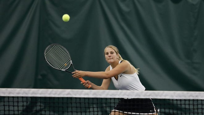 Freeport´s Anika Fosler, shown playing doubles in last year's NIC-10 tennis tournament, finished fourth at the Rochelle Sectional to be a Class 1A state qualifier, even though there is no state tournament this year.