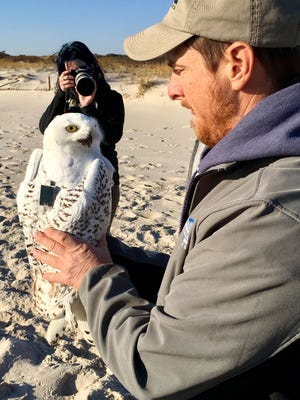Mike Lanzone holding Island Beach showing off the transmitter. Background is Erin Rawls of NJ Audubon's Cape May Bird Observatory.