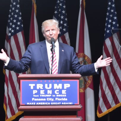 Republican presidential nominee Donald Trump on stage