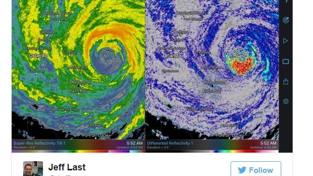 A screen shot from National Weather Service meteorologist Jeff Last's Twitter feed shows a radar image of birds inside Hurricane Matthew.