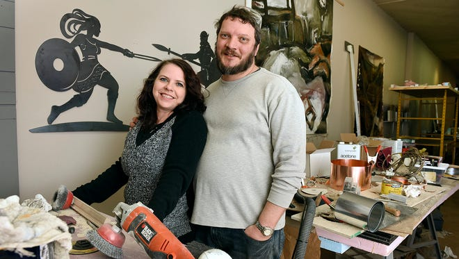 Artists Rebekah Glasmann and James Lundberg, Traumen Glasberg Designs, talk Tuesday, Jan. 12 about their work that will be featured in the new U.S. Bank Stadium.