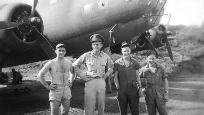Second Lieutenant Gene Roddenberry, US Army Air Force, poses with his crew in front of the B-17 Flying Fortress that he piloted during World War II. Roddenberry flew 89 combat missions and sorties, and was decorated with the Distinguished Flying Cross and Air Medal.