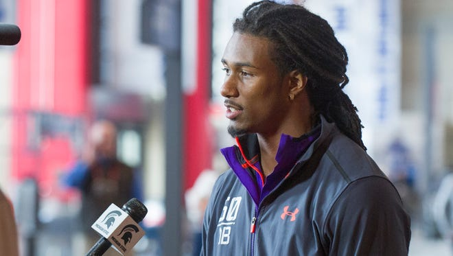 Michigan State defensive back Trae Waynes talks with a TV crew at the NFL scouting combine in Indianapolis on Saturday, Feb. 21, 2015.