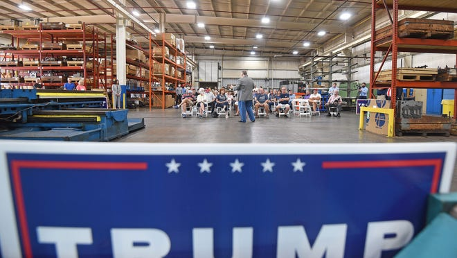 PR rally 1: State Rep. Mark Romanchuk speaks Tuesday as he hosted a rally for President Donald Trump in Mansfield at PR Machine Works.