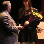 Executive director Tom Werder presents Tori Hey with the Eugenie Coladarci Arts Scholarship. Morris Arts recognized individuals and organizations for their contributions to the arts at their annual 2015 Celebrate the Arts Awards at the Bickford Theatre.