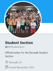 The Norwalk High School student section organizes on