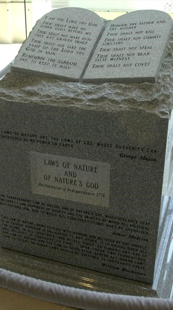 The Ten Commandments monument Roy Moore installed at