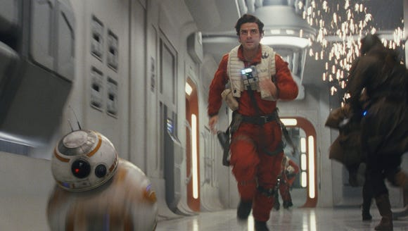 Poe and BB-8 on the move in 'The Last Jedi.'