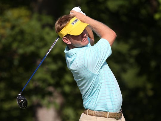 Billy Hurley III tees off on the 13th hole during the