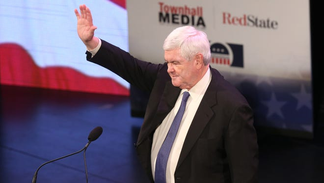 Former Speaker of the House and Republican presidential candidate Newt Gingrich made a return to Iowa to speak during the Iowa Freedom Summit on Jan. 24 in Des Moines.