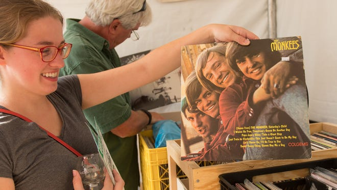 Shopping for vinyl at the Dogfish Head Analog-A-Go-Go Festival at Bellevue State Park on September 17, 2016.