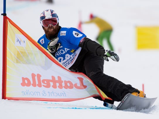 A.J. Muss competes at the FIS Snowboard World Cup