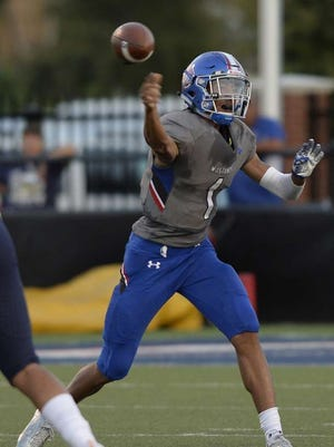 Peyton Powell fires a pass in 2017 for Midland Christian. After transferring to Odessa Permian in the offseason, he's projected to be the Panthers' starter in the fall.