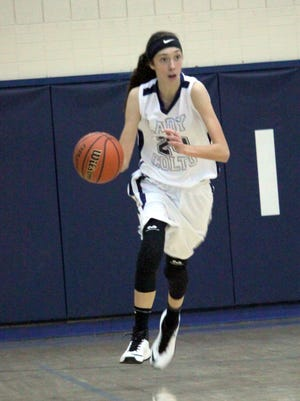 Katelyn Limardo brings the ball upcourt after a rebound against Hatch Valley. she had 20 points in the victory.