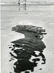 In August 1979, slicks of crude oil washed ashore on