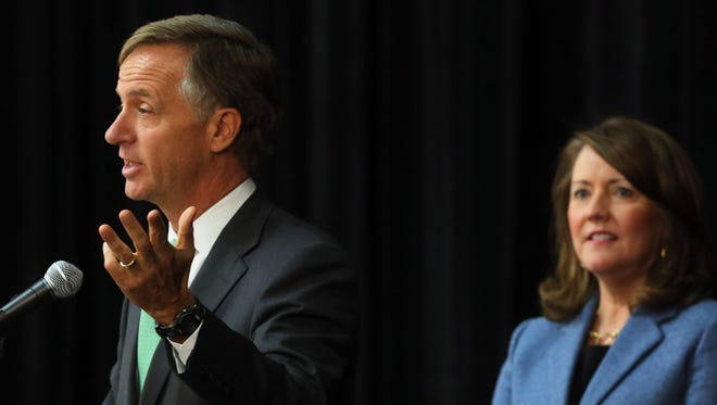Gov. Bill Haslam and first lady Crissy Haslam address the ACES Summit on Thursday.