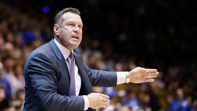 Grand Canyon coach Dan Majerle directs his team during the first half of an NCAA college basketball game against Duke in Durham, N.C., Saturday, Nov. 12, 2016.