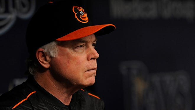 Former Baltimore Orioles manager Buck Showalter, seen above in a file photo, is considered a candidate for the manager's job with the Philadelphia Phillies.
