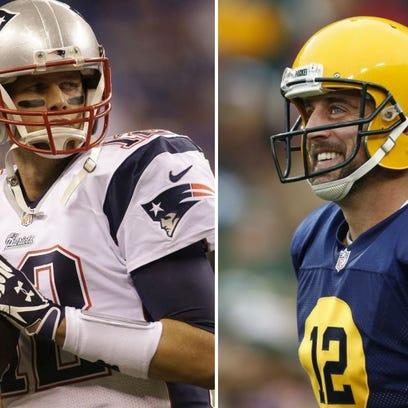 New England Patriots quarterback Tom Brady, left, and