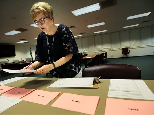 Election Administrator Linda Phillips uses a mock ballot to explain how Shelby County's instant runoff system works in this file photo.