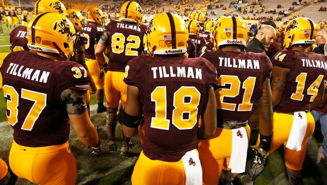 """Arizona State players wear """"Tillman"""" on their jerseys for Salute to Service game against Oregon on Oct. 29, 2015 in Tempe, Ariz."""