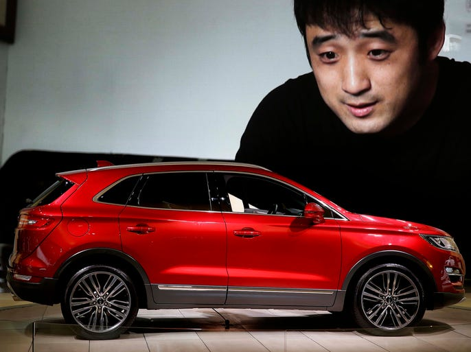 A Lincoln MKC is displayed on April 17 at the New York International Auto Show at theJacob K. Javits Convention Center.