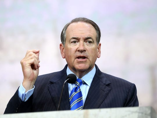 Former Arkansas Gov. Mike Huckabee speaks at the National Rifle Association convention in Nashville in 2015.