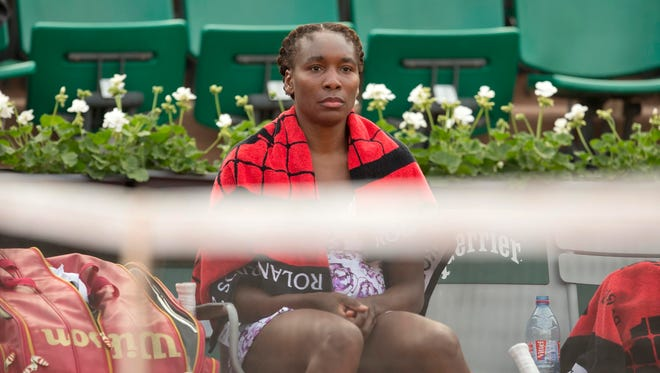 Venus Williams is shown during her first-round loss to Sloane Stephens.