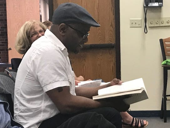 Pulitzer Prize-winning poet Tyehimba Jess prepares himself for a question-and-answer period with community members, plus students and faculty of Hardin-Simmons University Friday.