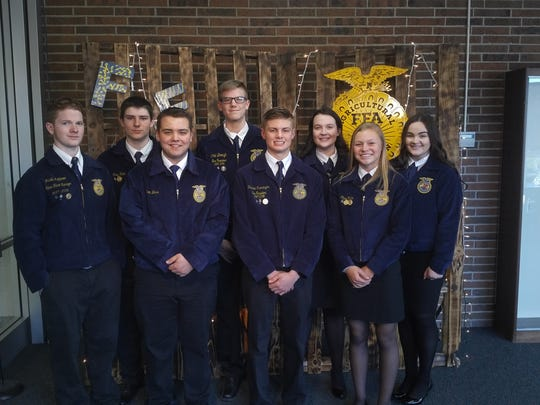 Members of the 2018-2019 Oak Harbor/Penta FFA Officer team stops for a photograph.