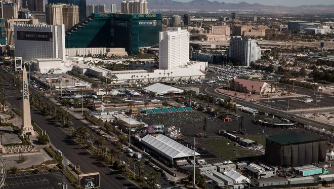 LAS VEGAS, NV - OCTOBER 3: A view of the concert venue and the site of the mass shooting at the Route 91 Harvest Festival, October 3, 2017 in Las Vegas, Nevada. The gunman, identified as Stephen Paddock, 64, of Mesquite, Nevada, allegedly opened fire from a room on the 32nd floor of the Mandalay Bay Resort and Casino on the music festival, leaving at least 58 people dead and over 500 injured. According to reports, Paddock killed himself at the scene. The massacre is one of the deadliest mass shooting events in U.S. history. (Photo by Drew Angerer/Getty Images)