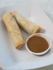 View of spring rolls available at Wang's World in Bethany