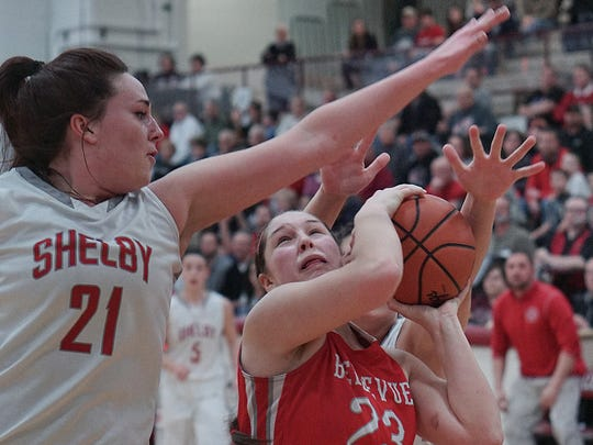 Bellevue's Jenna Strayer goes for a shot past Shelby's Maddi Fidler during the girls district finals at Willard High School on Saturday night.