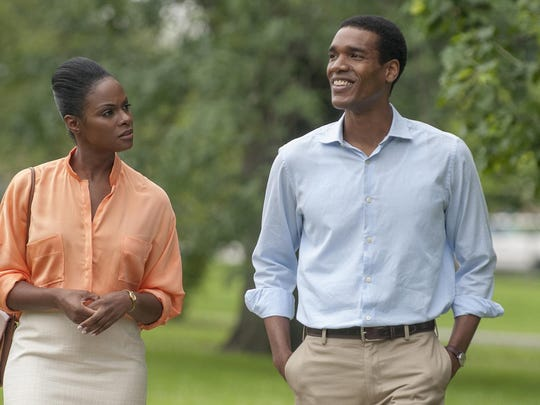 "Tika Sumpter, left, and Parker Sawyers star in ""Southside With You."""