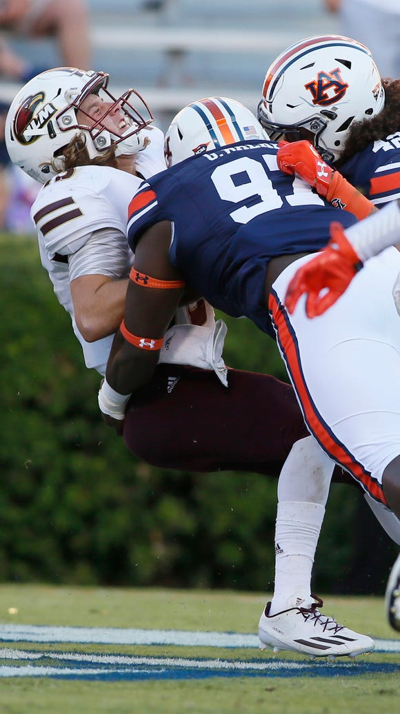 Auburn rolled up 410 yards rushing and beat ULM 58-7