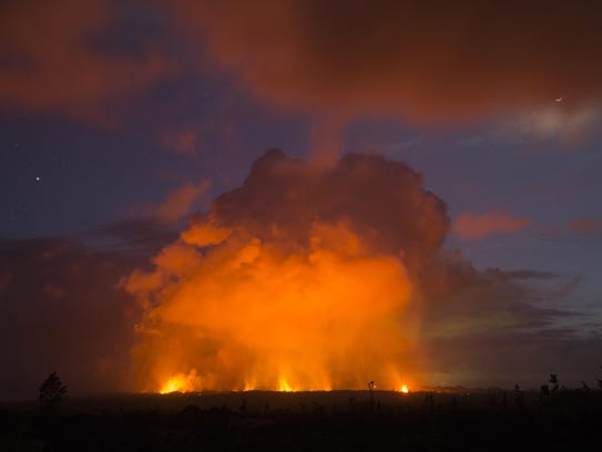 Volcanic activity from the Malama Ki and Leilani Estates