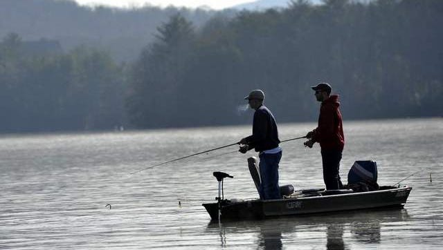 Anglers fish in a recent tournament on Lake Julian in southern Buncombe County.
