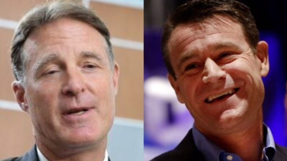 Democrat Evan Bayh (left) and Republican Rep. Todd Young