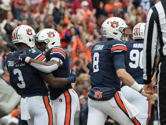 Auburn wide receiver Nate Craig-Myers (3) celebrates