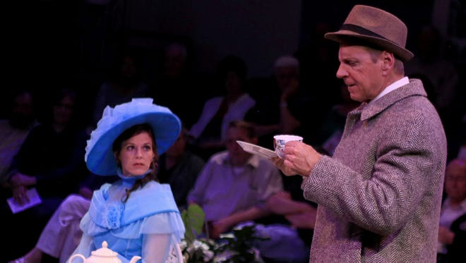 "Melissa Humphries plays Eliza Doolittle and John Grzesiak plays Henry Higgins in St. George Musical Theater's production of ""My Fair Lady."""