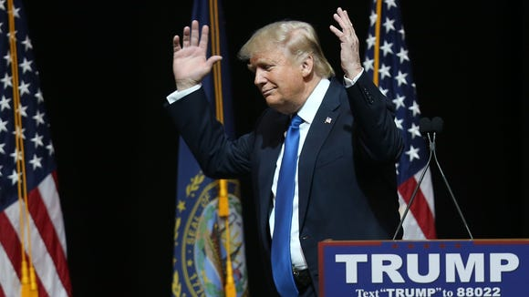 Donald Trump speaks during a campaign rally at Verizon Wireless Arena on Feb. 8, 2016, in Manchester, N.H.