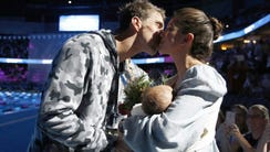 Michael Phelps, Nicole Johnson and their son, Boomer,