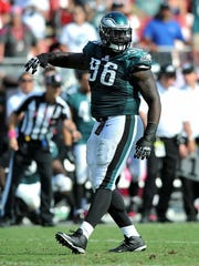 Philadelphia Eagles defensive tackle Bennie Logan reacts after sacking Tampa Bay Buccaneers quarterback Mike Glennon (not pictured) during a game this past season.