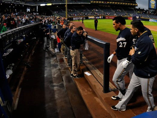 Sept. 25: Brewers center fielder Carlos Gomez is ejected after confronting Braves players after hitting a home run in the first inning.