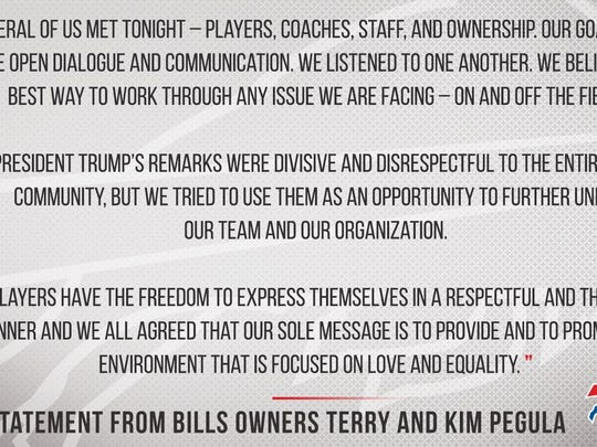 Statement from Buffalo Bills owners Terry and Kim Pegula regarding President Trump's remarks about the national anthem.