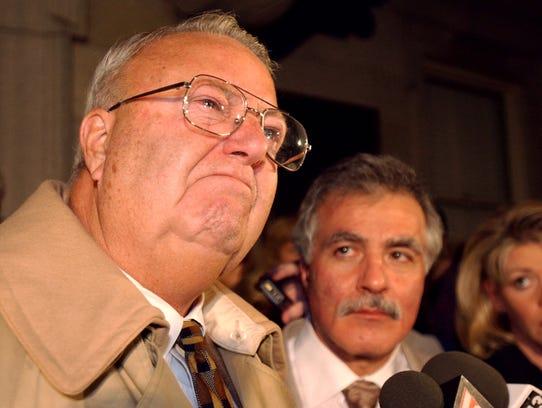 Former York Mayor Charlie Robertson speaks to the media