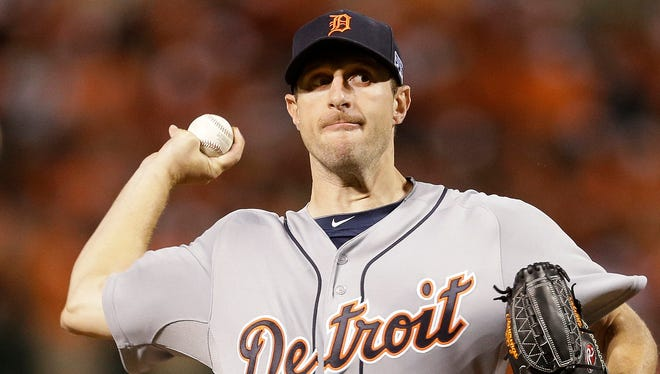 Detroit Tigers starting pitcher Max Scherzer (37) throws in the fourth inning against the Baltimore Orioles during Game 1 of baseball's AL Division Series in Baltimore on Oct. 2.