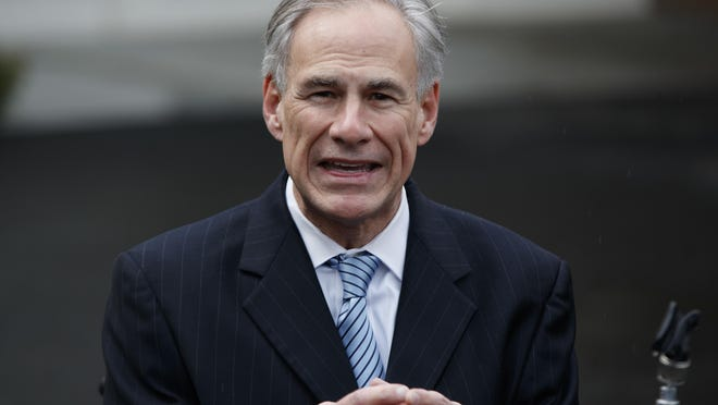 "FILE - In this March 24, 2017, file photo, Texas Gov. Greg Abbott talks to reporters outside the White House in Washington. Abbott tweeted the word ""Boom"" in celebration of the Texas Legislature approving a call for a ""convention of states."" The idea is for lawmakers in 34 states, representing two-thirds of the nation, to approve convening a gathering to amend the U.S. Constitution and include things like a federal balanced budget amendment to beat back Washington's ""overreach."" (AP Photo/Evan Vucci, File)"