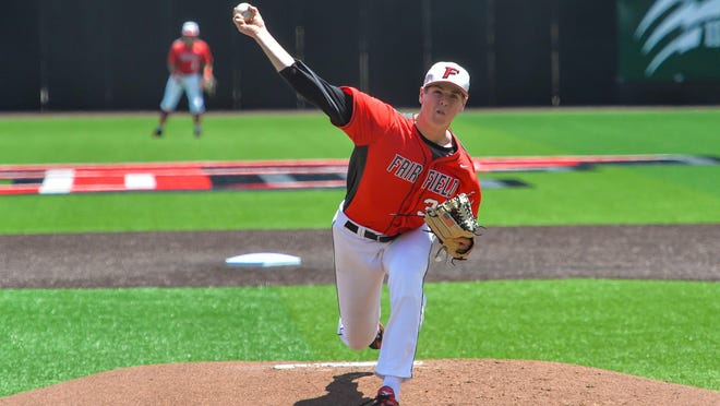 Fairfield junior Gavin Wallace, a Madison resident, throws a pitch earlier this season.
